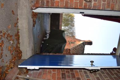 Entrance to Secure Shed - note the step