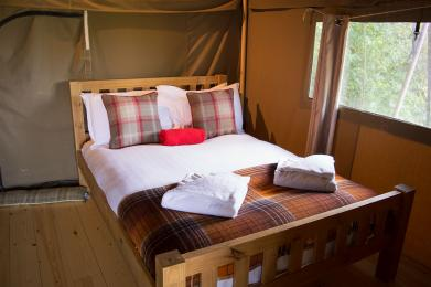 One of the bedrooms in the Safari tents