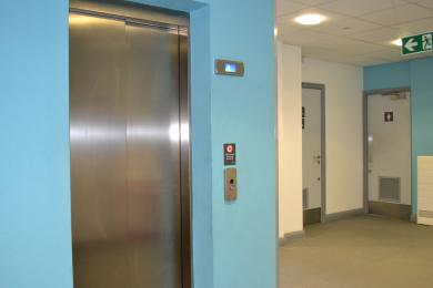 The door of the main lift, this is located on the ground floor and is for users accessing other areas of the building.