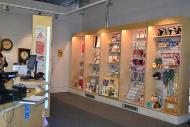 This photo shows the shop next to one of the help desks.