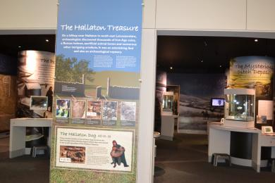 This photo shows a close up of the entrance to the Hallaton Treasure gallery.