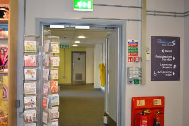 This is the path from the help desks, past the shop, to the main lift and toilets.