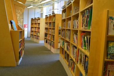 This photo shows one of the paths in the library with bookshelves either side.
