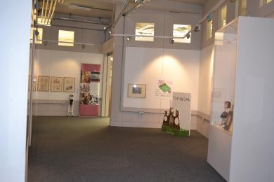 This photo shows the  view from the end of the exhibition room, looking back at the entrance and exit.