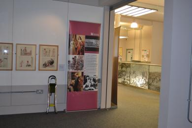 This photo shows the exit of the exhibition which is the same door as the entrance, taken from inside the exhibit.