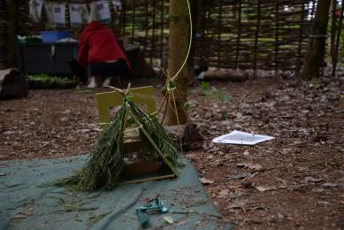 Forest School area showing activity and wood chipped surface
