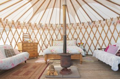 This shows the layout inside Clover yurt