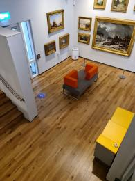 Downstairs gallery space, accessible by a lift