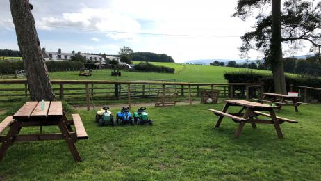 picture shows grass paddock and picnic benches
