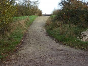 Flood bank slope leading to tree sparrow viewing point at it's apex.