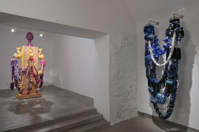 Image of steps in Steadings gallery (including temporary exhibition artwork by Joana Vasconcelos)