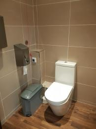 Photo of the toilet in the gym showing the emergency pull cord
