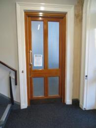 Hub entrance from foyer with the door closed