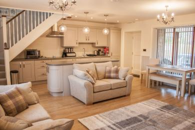 Open plan kitchen dining at Keldy Cottage