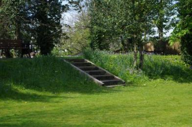 Steps to lower lawn