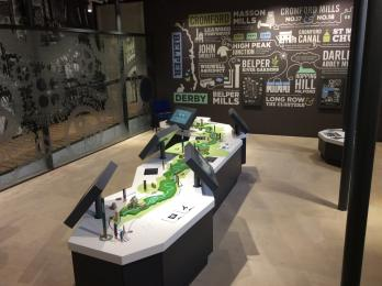 View of the display and touch screens in the  Cromford Mills Visitor Centre