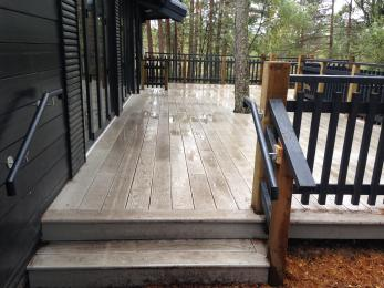Set of two steps from decking outside Nature Centre