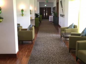 Corridor from reception to lounge, bar and restaurant