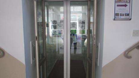 Automatic sliding doors within our reception entrance