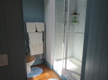 Separate shower in Blue Bedroom en-suite which has a threshold entrance step to shower of 330mm