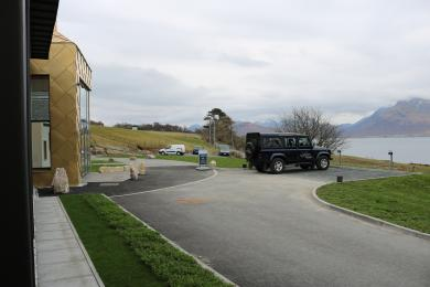 Raasay Distillery distance from accessible parking to front entrance