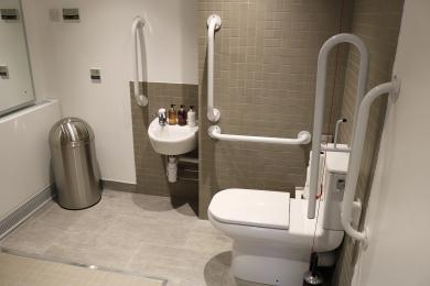 Showing the toilet and sink area in the bathroom of the accessible room