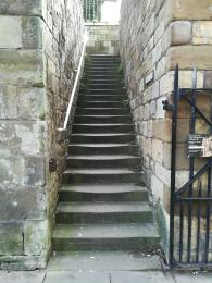 South stairs, one of two ways to reach the entrance.