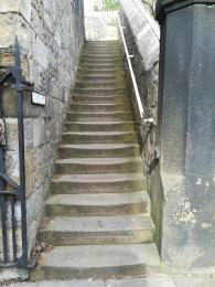 North stairs, one of two ways to reach the entrance.
