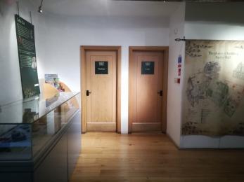 The two toilet doors in the Vestibule.