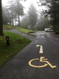 view of route to accessible parking spaces from car park entrance