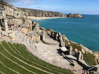 the classic view of the Minack stage and lower terraces