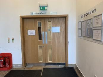 Entrance to the pool changing rooms