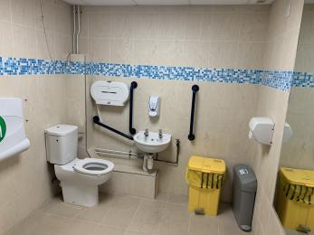 Accessible toilet, changing room and shower