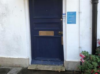 Ramped entrance door.