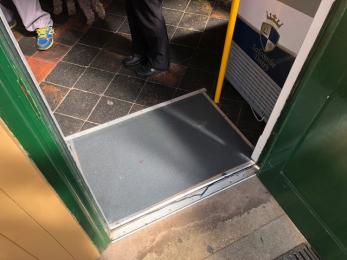Small ramp through the door from Platform to Colyton Cafe