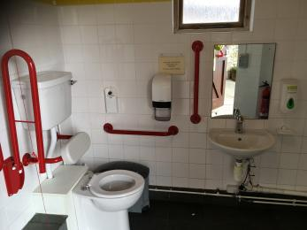 the public toilet in the theatre designated for disabled people