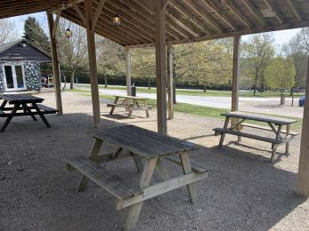 The picnic area viewed from under the shelter.