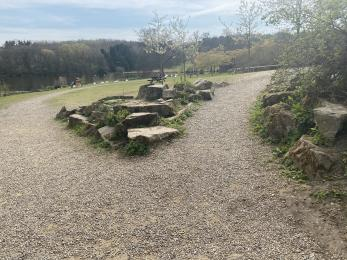 The gravel path that splits into two. There are rocky verges either side.