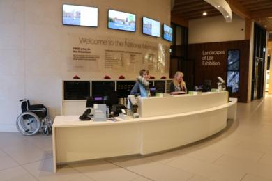 Welcome Desk with lowered counter for wheelchair users