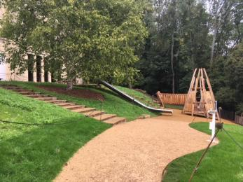 The path towards the slide and pyramid structure