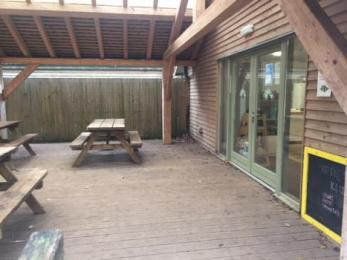 The Ridge Cafe rear entrance and decking area
