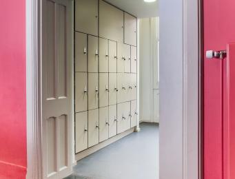 A photograph of the lockers located opposite the ground floor accessible toilet with level access from Queen Street reception.