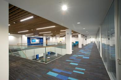 All of the conference rooms are accessed from a central foyer.