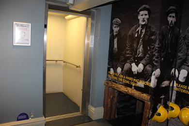Lift open at ground floor entrance from street Bailiffgate Museum