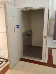 Interior of lift with push operate controls