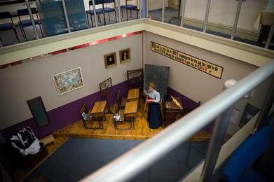 Looking down on Edwardian classroom from Gallery Area Bailiffgate Museum