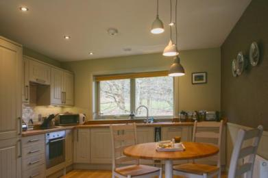 Kitchen with integrated appliances and separate dining table