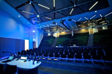 The Main Auditorium seats up to 450 - 150 on a flat floor with flexible seating, and 300 in fixed, tiered seating.