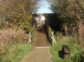 Approach along the compacted limestone path and gently sloping wooden bridge with handrails both sides to hinged door.