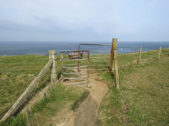 Kissing gate at northern end of path from Cumlaquoy car park to Marwick cliffs
